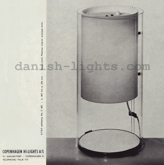 John Petersen for Copenhagen Hi-Lights: Gyro table lamp C402