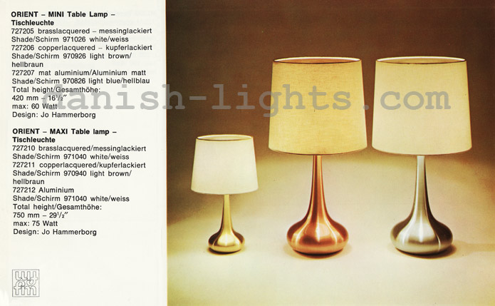 Jo Hammerborg for Fog & Mørup: Orient Mini, Orient Maxi table lamps