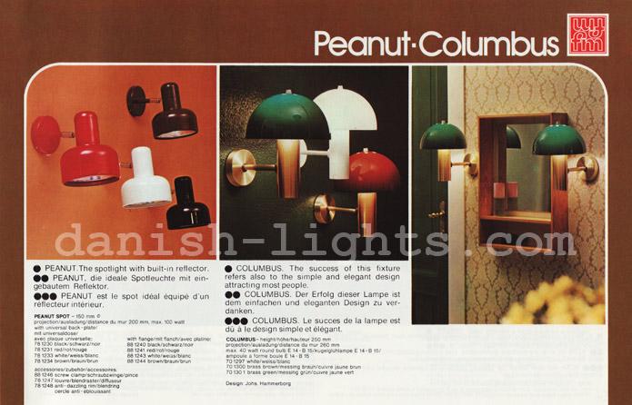 Unspecified designer, Jo Hammerborg for Fog & Mørup: Peanut, Columbus wall lights