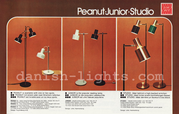 Unspecified designer, Jo Hammerborg for Fog & Mørup: Peanut, Junior, Studio floor lamps