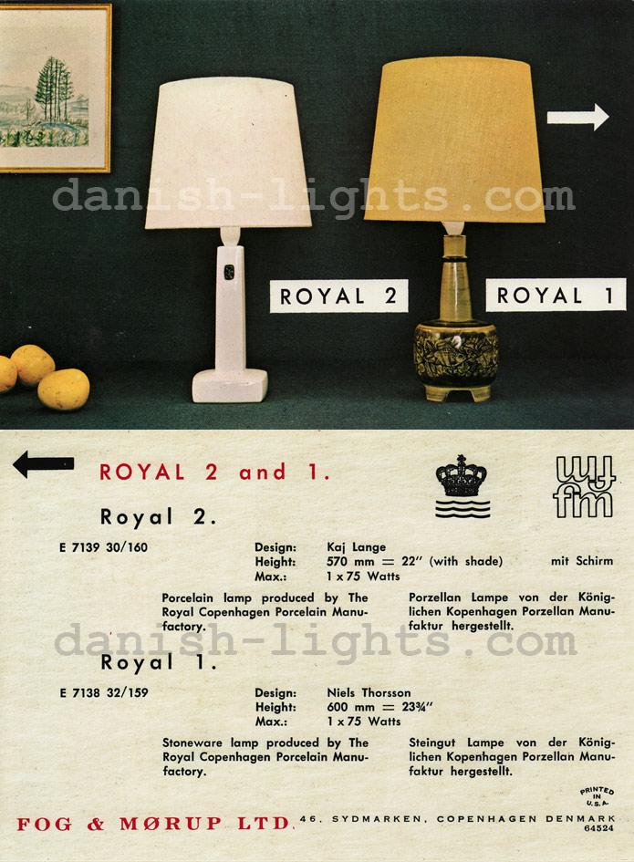 Kai Lange, Nils Thorsson for Royal Copenhagen, Fog & Mørup: Royal 2, Royal 1