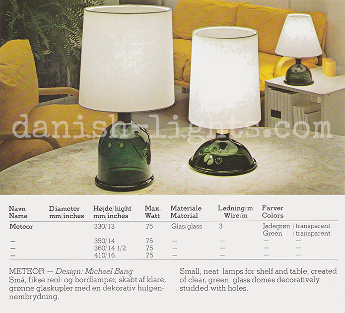 Michael Bang for Holmegaard: Meteor table lamps