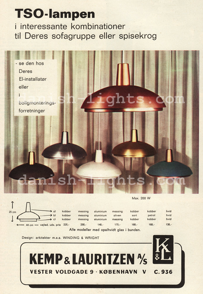 Winding & Wright for Kemp & Lauritzen: TSO-lamps