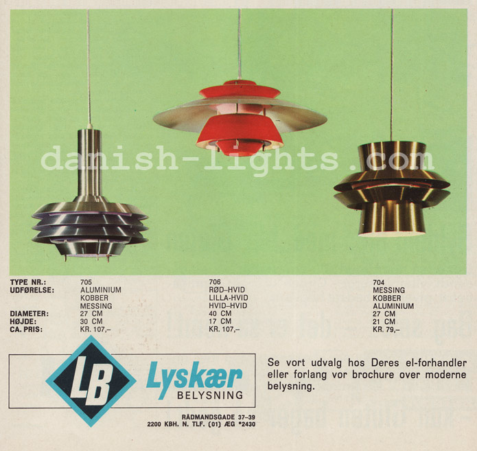 Unspecified designer for Lyskaer Belysning: 705, 706, 704