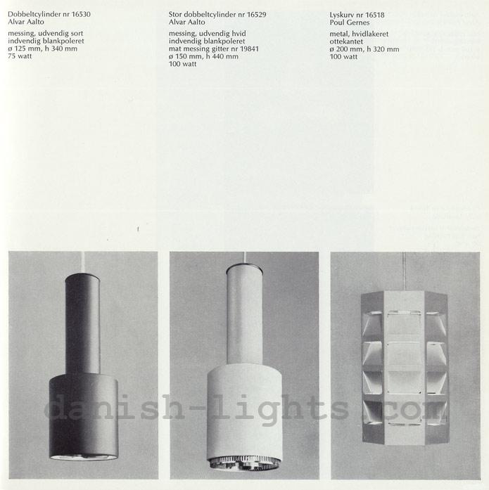 Alvar Aalto, Poul Gernes for Louis Poulsen: Dobbeltcylinder 16530/16529, Lyskurv