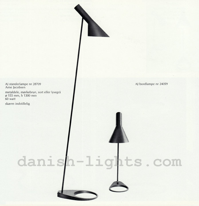 Arne Jacobsen for Louis Poulsen: AJ floor lamp 28709, AJ table lamp 24059