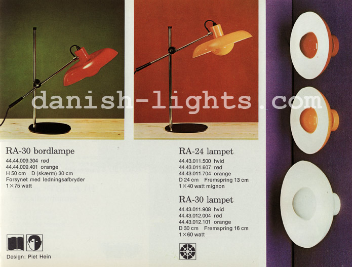 Piet Hein for Lyfa: Ra-30 table lamps, Ra-24, Ra-30 wall lights