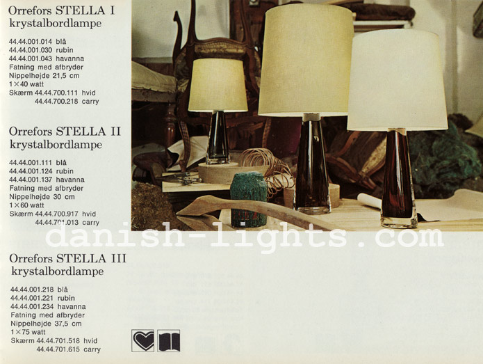 Unspecified designer for Lyfa: Orrefors Stella I, Orrefors Stella II, Orrefors Stella III