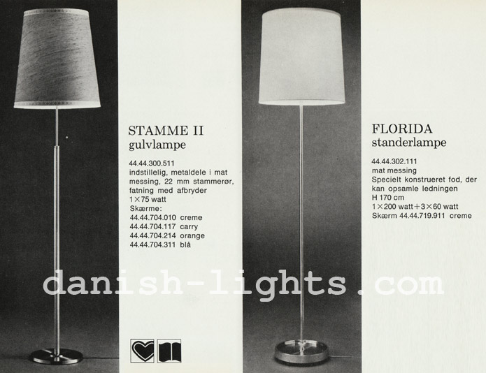 Unspecified designer for Lyfa: Stamme II and Florida floor lamps