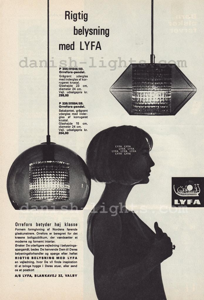 Unspecified designer for Lyfa: Orrefors-pendels P339, P355