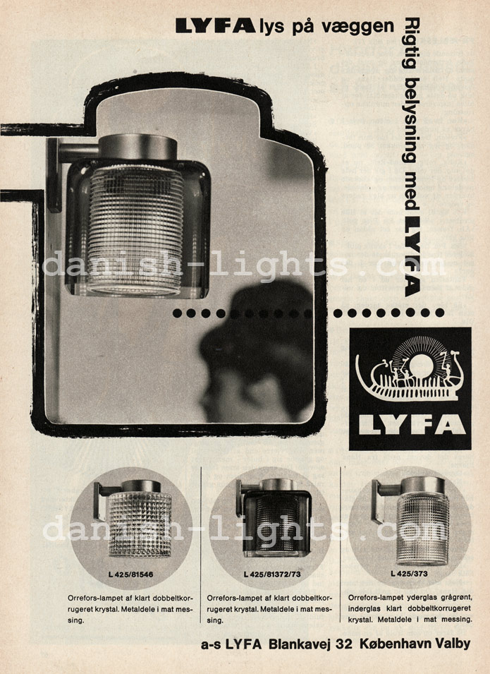 Unspecified designer for Lyfa: Orrefors-lamp series L425