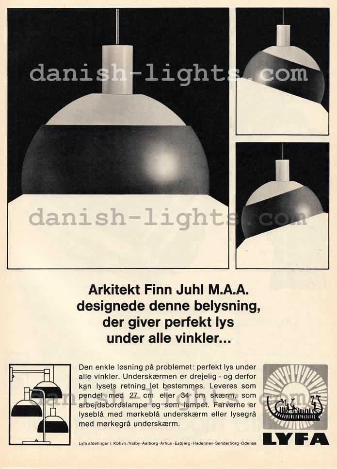 Finn Juhl for Lyfa: pendant, table and wall lights