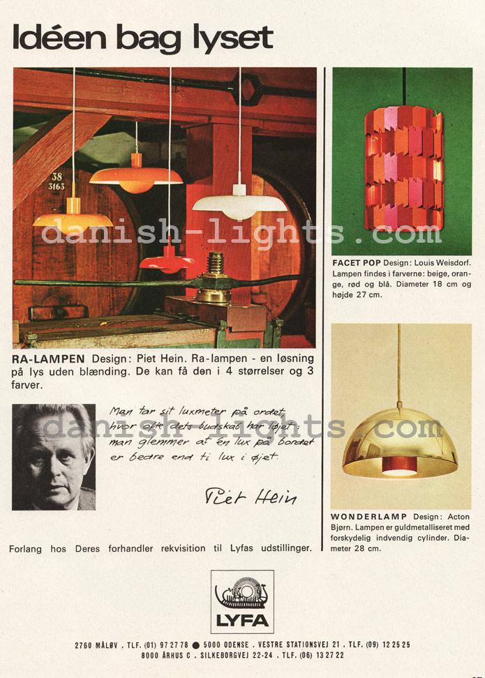 Piet Hein, Louis Weisdorf, Acton Bjørn for Lyfa: Ra-lamp, Facet Pop, Wonderlamp