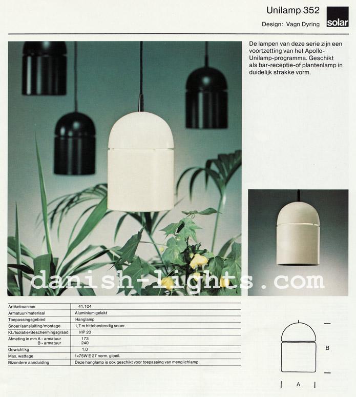 Vagn Dyring for Solar (Nordisk Solar Compagni): Unilamp 352 pendant light