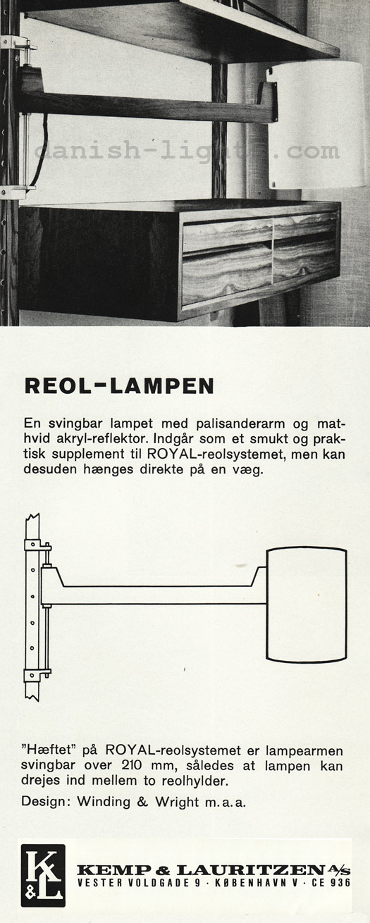 Winding & Wright for Kemp & Lauritzen: Reol lampe