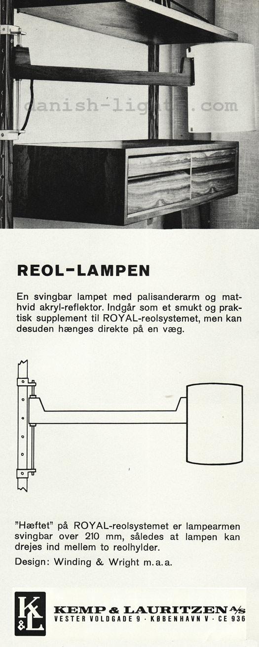 Winding & Wright for Kemp & Lauritzen: Reol lampe