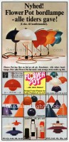 Verner Panton, Unspecified designer, Poul Henningsen for Louis Poulsen: Flowerpot table lamp, Flowerpot pendant light, Combipendel, Topanpendel, Billiardpendel, PH 4/3, LamPetit, PH 5 8
