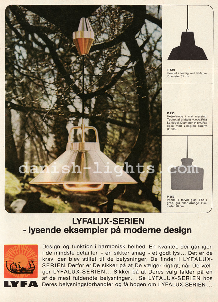 Fritz Schlegel, unspecified designer for Lyfa: P295, P549, P552