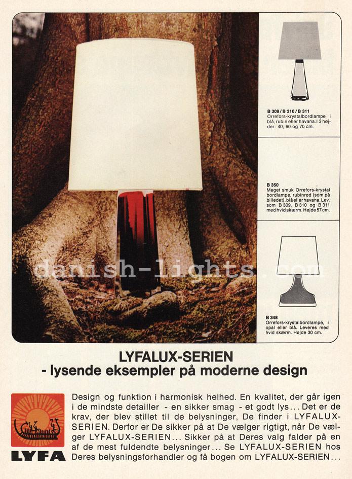 Unspecified designer for Lyfa: Orrefors table lamps B309, B310, B311, B350, B348