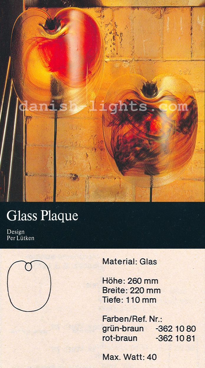 Per Lütken for Holmegaard: Glass Plaque wall light